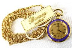 Berney Swiss Quartz Lavendar Enamal and Gold Watch Handpainted Violets NEW