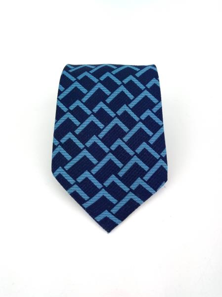Vintage HABAND Blue Geometric Design Polyester Neck Tie