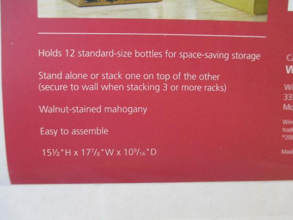 Wine Enthusiast 12 Bottle X Cube Wine Rack Walnut-Stained Mahogany