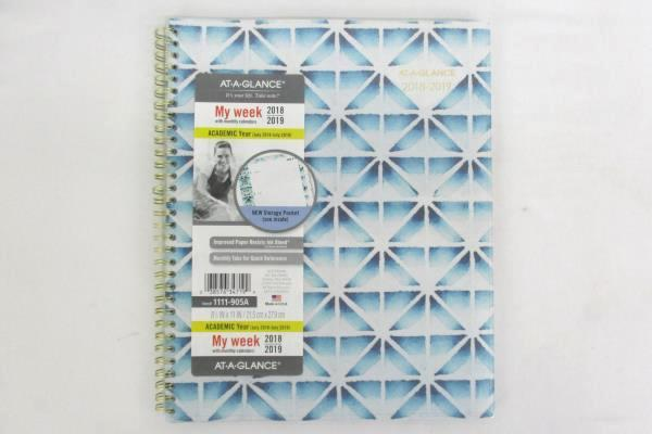 "Lot of 2 At-A-Glance Academic 2018-19 Planner My Week 8.5"" x 11"" Blue Gray Scale"