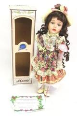 "MENIE 16"" Belinda Porcelain Collectible Doll In box Hand Painted"