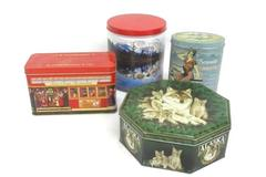 Lot of 4 Collectible Tins Alaska Timber Wolves Seaside Sweets Ghirardelli Trails