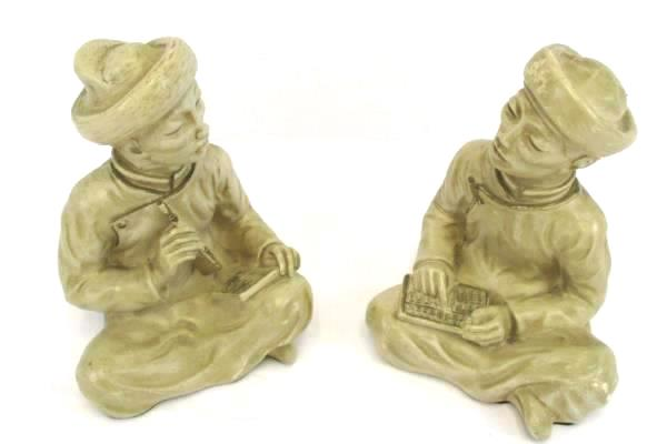2 Vintage 1958 Universal Statuary Asian Abacus Notebook Chalkware Bookends