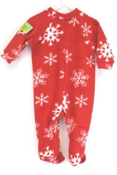 Christmas Holiday Red Snowflake One Piece Pajama Snug as a Bug Unisex 6-12 Month