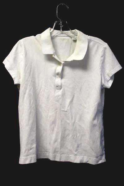 Women's White 1/4 Button Up Cotton Polo Shirt By Lady Hathaway Size L