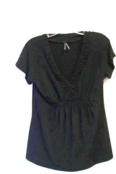 LAPIS Women's Short Sleeve Black Elastic Stretch Neck and Bust Top Size M