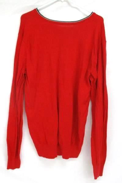 V Neck Sweater American Eagle Outfitters Red Knit Long Sleeve Prep Fit Men's M