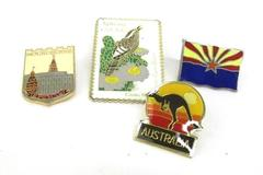 Lot Of 4 Lapel Pins Travel Memorabilia Gold Toned Arizona Australia