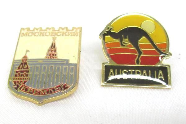 Lot Of 4 Lapel Pins Travel Memorabilia Gold Toned Arizona Australia