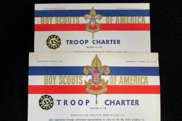 1964 & 1965 Boy Scouts Charter Certificate McMinnville OR Elks ClubTroop 233