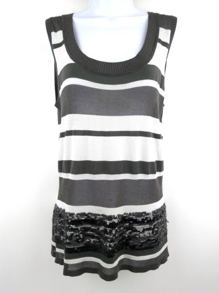 IISLI Sleeveless Knit Tank Top Sheer Sequins Gray & White Stripe Women's SMALL