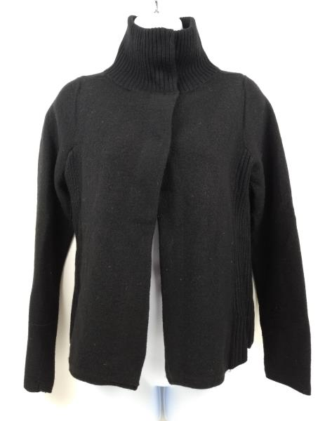 CHICO'S Black Boiled 100% Wool Snap Cowl Neck Cardigan Womens Sz 0 (SMALL / 4)