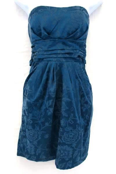 Women's Snap Strapless Dress Green Floral Mini Cocktail Formal Pleated Size 11