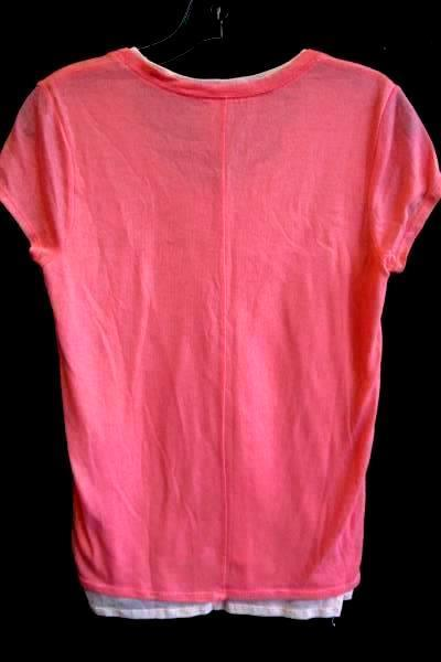Women's Two Toned Pink Short Sleeved Layered Shirt By DKNY JEANS Size S