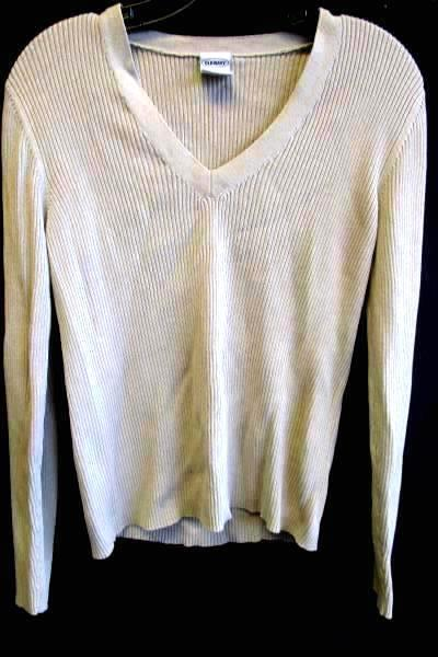 Women's Beige Long Sleeve Textured Sweater Shirt By Old Navy Size L 100% Cotton