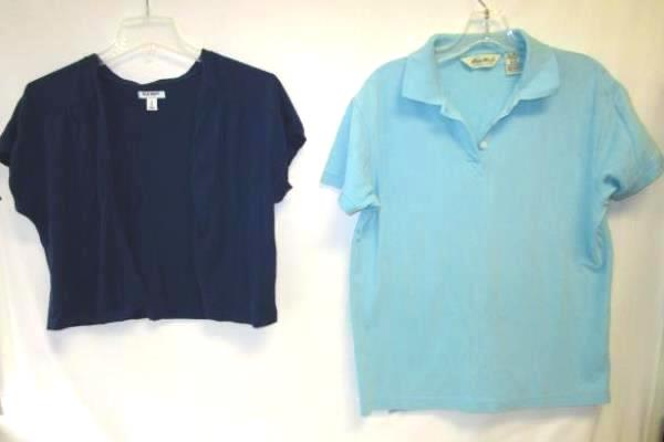 Lot Of Women's Blue Old Navy Cardigan & Eddie Bauer Polo Shirt & Size M