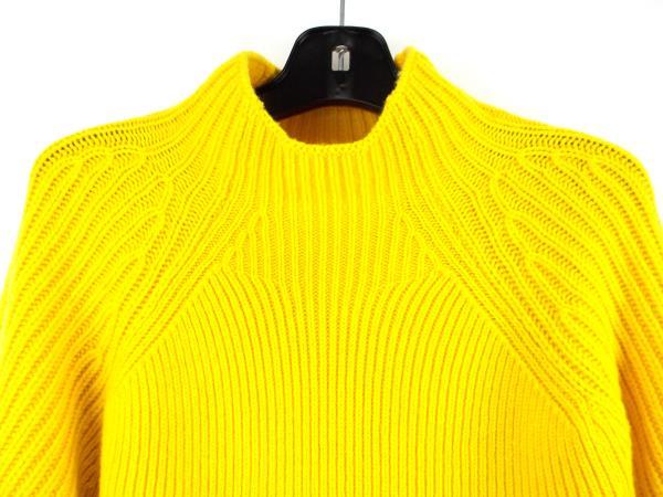 VICTORIA BECKHAM 100% Wool Gauge Change Polo Neck Jumper Yellow Sweater Size 2