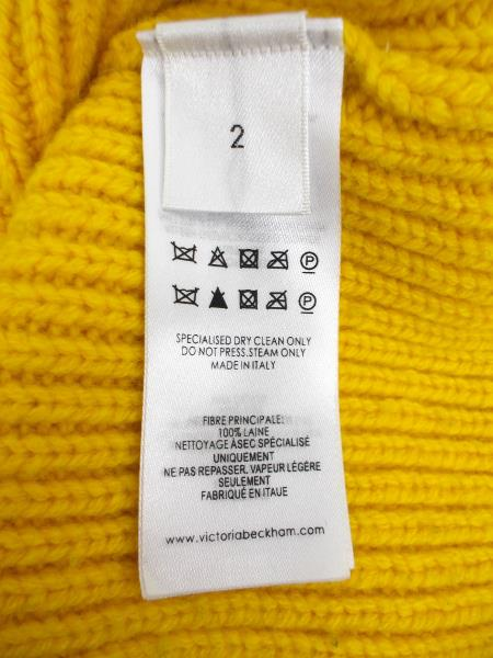 VICTORIA BECKHAM 100% Wool Gauge Change Polo Neck Jumper Yellow Sweater Size 2