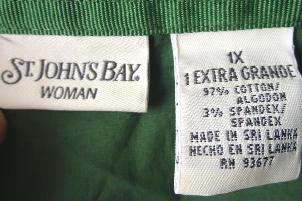 Lot of 2 Women's Button Up By St. John's Bay BillBlass Pink Green Long Sleeve XL
