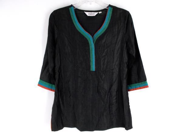BIBA Black Pintuck Tunic Indian Boho 3/4 Sleeves + Side Slits ~ Sz 32 Womens