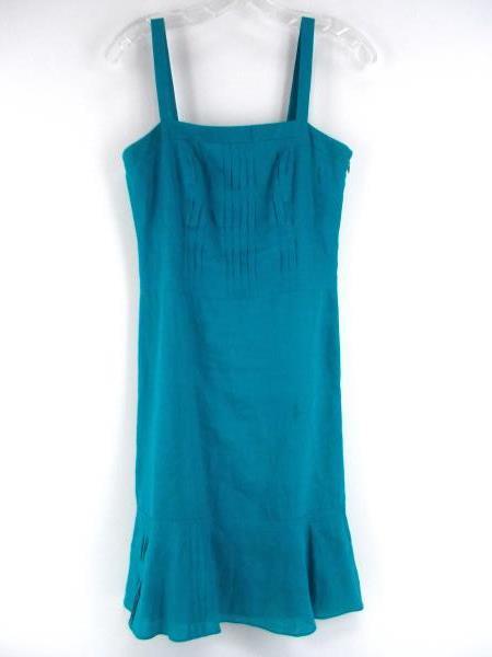 ANN TAYLOR Teal Blue 100% Linen Pintuck Dress Lined PETITE Sz 4P