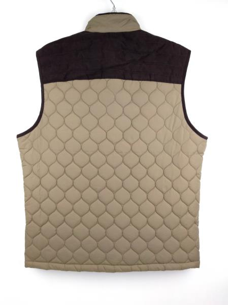 TASSO ELBA Brown Quilted Outerwear Insulated Vest Faux Suede Men's M ~ NWT $110