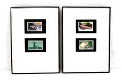 Framed State Postage Stamps Oregon Statehoood & West Virginia