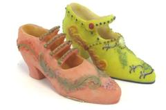 Set of 2 World Bazaars Decorative Collectible Resin Shoe Statue Display Decor