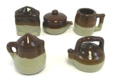 Set of 5 Dollhouse Miniature Porcelain Stoneware Jar Brown Drip Pottery Bean Pot