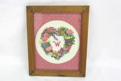 """Completed & Framed Vintage Needlepoint Floral Heart With """"W"""" Monogram"""
