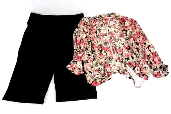Women's Outfit Opened Front Blouse Floral Size S Dressbarn Black Slacks Size 6