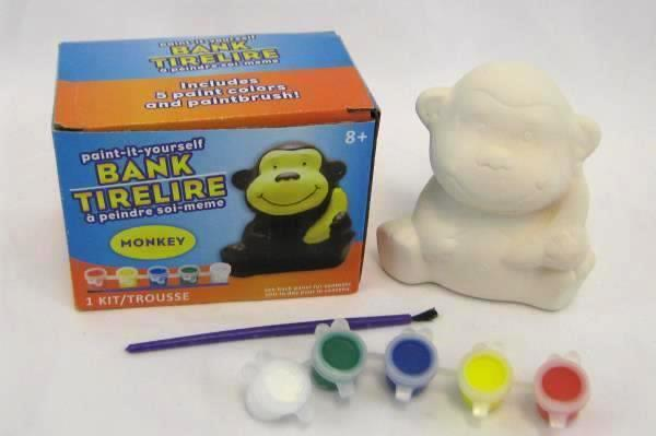 Paint It Yourself Piggy Bank Kit Includes Ceramic Monkey Bank + 5 Colors + Brush