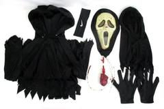 Halloween Costume SCREAM Mask & Black Gown Youth Size 10-12