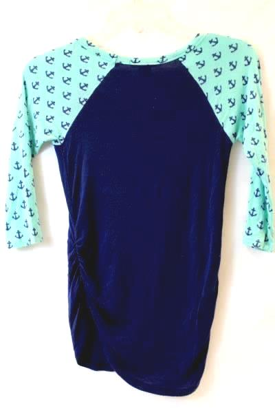 Top By American Dream 1/2 Sleeve Turquoise Blue Anchors Ruffles Women's Size XS