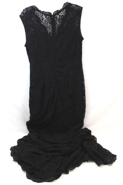 Women's Dress Made By ClubL Black Embrodiered Floral Design Long w/ Zipper Sz M