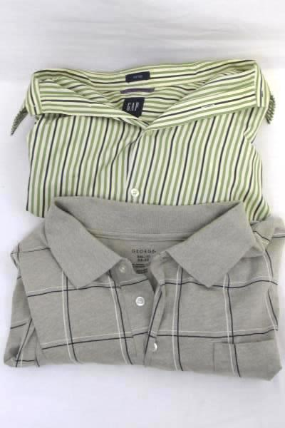 Lot of 2 Men's Multi-Colored Casual Button Up Shirts By Gap & George Size XXL