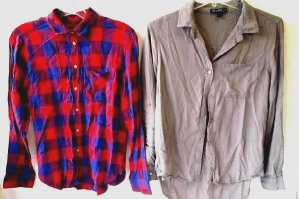 Lot Of Two Women's Casual Button Up Shirts By American Eagle & Velvet Heart Sz S