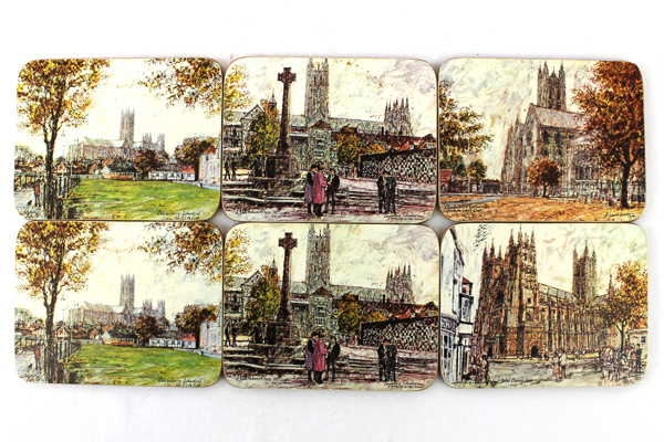 12: Clover Leaf Corkback Coasters - Canterbury Cathedral Mercery Lane & More