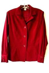Women's Red Full Button Down Long Sleeve Collar Blazer By Notations Size S