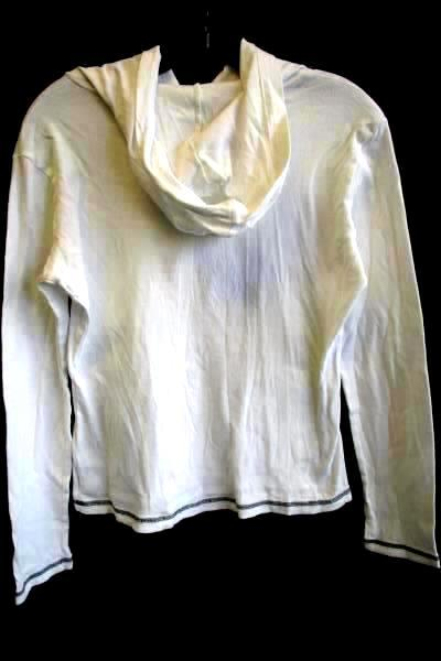 Shirt w/ Hood By Majestic Threads White Trail Blazers Women's Junior's Sz L