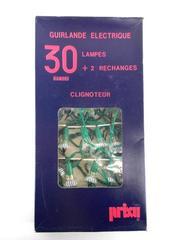 Vtg Christmas Blinking String Light Set of 30 w/ Clear Flower Reflectors TESTED