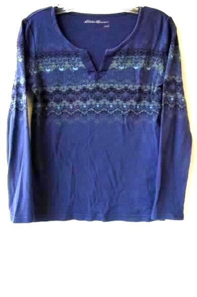 Women's Multicolor Long Sleeve V-Neck Top by Eddie Bauer Size S 100% Cotton