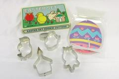 Vintage Fox Run Cookie Cutter Set Easter 4 Tulip Chick Bunny Church + Treat Bag