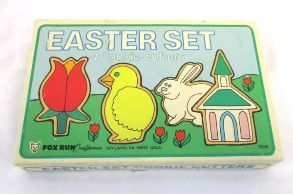 Vintage Fox Run Cookie Cutter Set Easter 4 Tulip Chick Bunny Church + Treat Bag