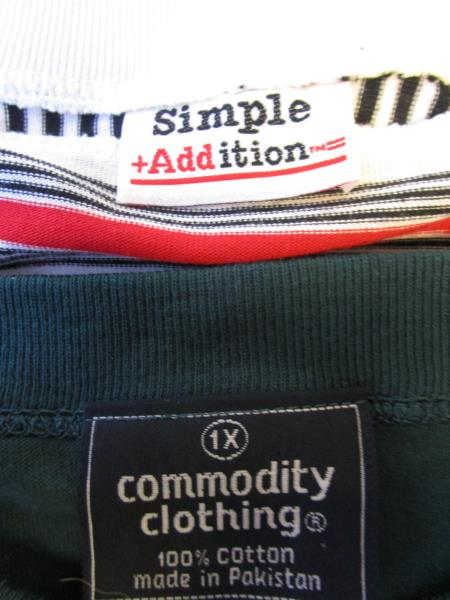 Lot of 2 T-Shirts By Simple Addiction Green White Red Stripes Women's Sz XL