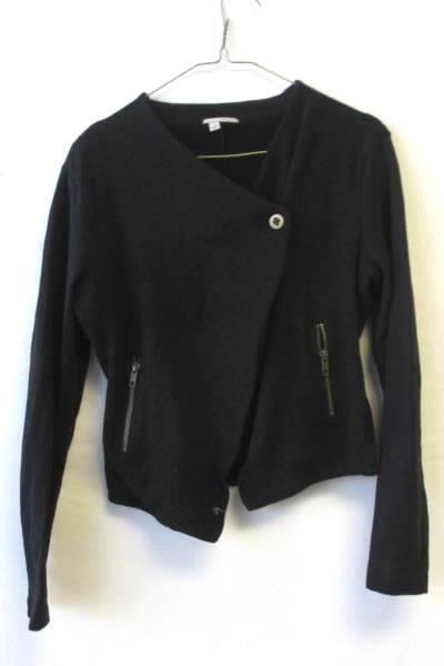 Sweater by Halogen Black Long Sleeves Zipper Pockets Button Women's Size S