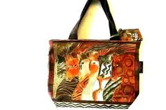 "12.5"" Moroccan Mares Cotton Canvas Hand Bag By Artist Laurel Burch Hand Made"
