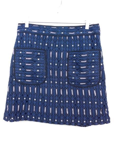 Ann Taylor LOFT Retro Blue, Black, Silver Geo Lace Career Skirt w/ Pockets Sz 8