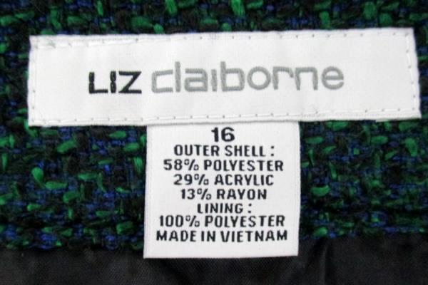 Liz Claiborne Women's Front Slit Skirt Business/Office Green & Blue Speckle 16
