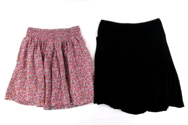 Lot 2 Women Skirts Fun High Waist Pink Max Studio Black Floral Back to School S